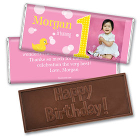 Personalized Birthday Embossed Happy birthday Chocolate Bar Duck Bubbles Photo
