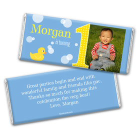 Birthday Personalized Chocolate Bar Wrappers Duck Bubbles Photo