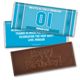 Personalized Birthday Embossed Happy birthday Chocolate Bar Sports Jersey Number