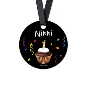 Personalized Round Cupcake Birthday Favor Gift Tags (20 Pack)
