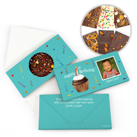 Personalized Birthday Photo Cupcake Gourmet Infused Belgian Chocolate Bars (3.5oz)