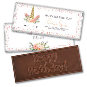 Personalized Birthday Whimsical Unicorn Embossed Chocolate Bar & Wrapper
