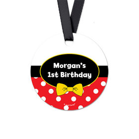 Personalized Round Mickey Mouse Birthday Favor Gift Tags (20 Pack)