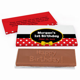 Deluxe Personalized First Birthday Mickey Mouse Chocolate Bar in Gift Box