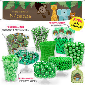 Personalized 1st Birthday Jungle Buddies Deluxe Candy Buffet