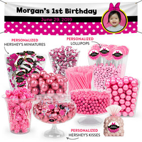 Personalized 1st Birthday Minnie Themed Deluxe Candy Buffet