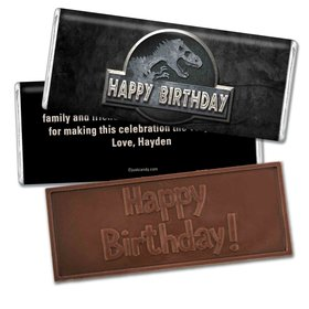 Birthday Personalized Embossed Chocolate Bar Jurassic World Dinosaur