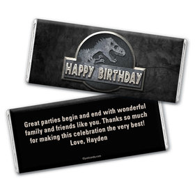 Birthday Personalized Chocolate Bar Wrappers Jurassic World Dinosaur