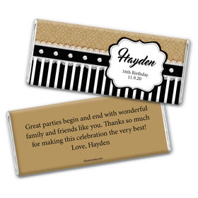 Birthday Personalized Chocolate Bar Wrappers Glamour Stripes & Lace