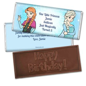 Birthday Personalized Embossed Chocolate Bar Disney Style Frozen Theme