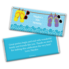 Birthday Personalized Chocolate Bar Wrappers Summer Flip Flop Beach
