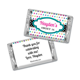 Birthday Personalized Hershey's Miniatures Wrappers Sweet 16 Polka Dot Candy Shoppe