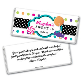 Birthday Personalized Chocolate Bar Wrappers Sweet 16 Polka Dot Candy Shoppe