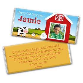 Birthday Personalized Chocolate Bar Wrappers Barnyard with Photo