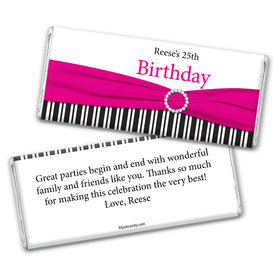 Birthday Personalized Chocolate Bar Wrappers Fancy Bow & Stripes
