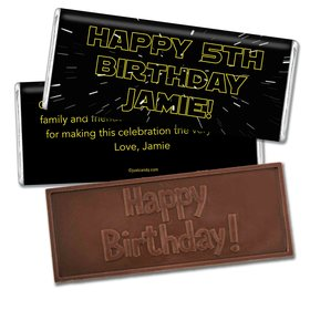 Birthday Personalized Embossed Chocolate Bar Star Wars Type Jedi Theme