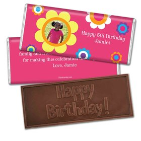 Birthday Personalized Embossed Chocolate Bar Flower Power with Photo