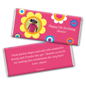 Birthday Personalized Chocolate Bar Wrappers Flower Power with Photo