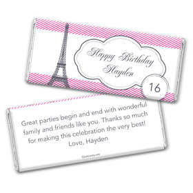 Birthday Personalized Chocolate Bar Wrappers Paris Theme