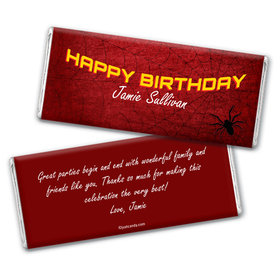 Birthday Personalized Chocolate Bar Wrappers Spiderman Style Web