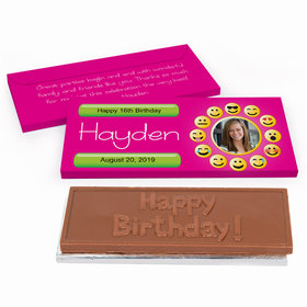 Deluxe Personalized Youth Birthday Emoji Photo Chocolate Bar in Gift Box