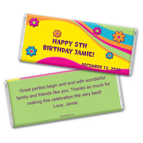 Birthday Personalized Chocolate Bar Wrappers Groovy Flower Power