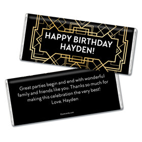 Birthday Personalized Chocolate Bar Art Deco 1920s Gatsby