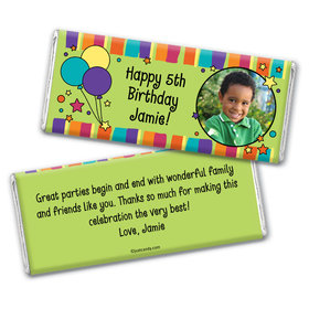 Birthday Personalized Chocolate Bar Wrappers Balloons and Stars Photo