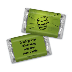 Birthday Personalized Hershey's Miniatures Wrappers Superhero Hulk Fist
