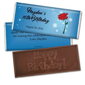 Birthday Personalized Embossed Chocolate Bar Beauty & Beast Style Rose