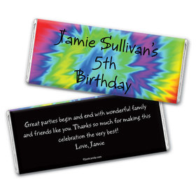 Birthday Personalized Chocolate Bar Wrappers Groovy Tie-Dye