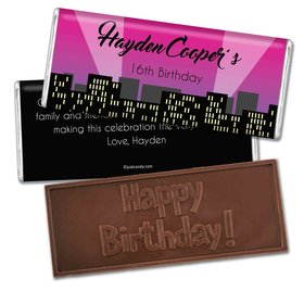 Birthday Personalized Embossed Chocolate Bar City Skyline