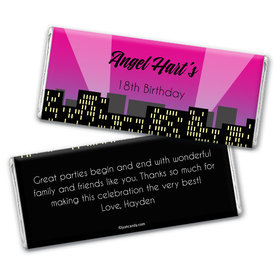 Birthday Personalized Chocolate Bar Wrappers City Skyline