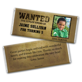 Birthday Personalized Chocolate Bar Wrappers Wanted Poster Western Photo