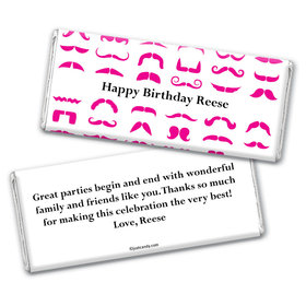 Birthday Personalized Chocolate Bar Wrappers Mustache Party