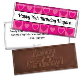 Birthday Personalized Embossed Chocolate Bar Tiled Hearts
