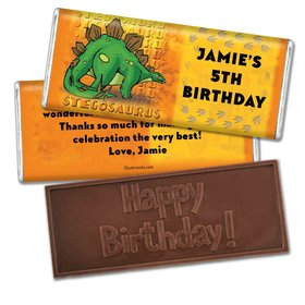 Birthday Personalized Embossed Chocolate Bar Jurassic Dinosaur