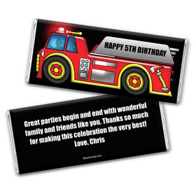 Personalized Birthday Fire Truck Chocolate Bar Wrappers