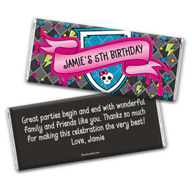 Birthday Personalized Chocolate Bar Wrappers Monster High Inspired Skull