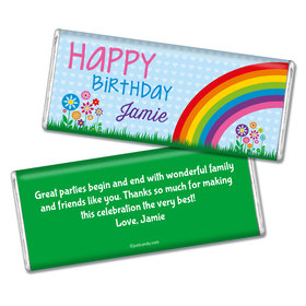 Birthday Personalized Chocolate Bar Rainbow, Flowers and Hearts