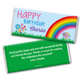 Birthday Personalized Chocolate Bar Wrappers Rainbow, Flowers and Hearts