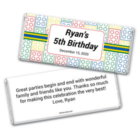 Birthday Personalized Chocolate Bar Wrappers Lego Theme Brick
