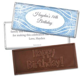 Birthday Personalized Embossed Chocolate Bar Winter Snow Squiggle