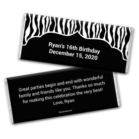 Birthday Personalized Chocolate Bar Wrappers Zebra Stripes