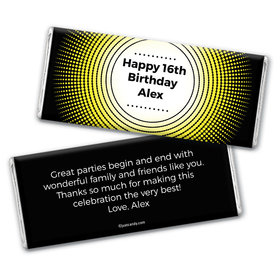 Birthday Personalized Chocolate Bar Wrappers Dotted Sunburst