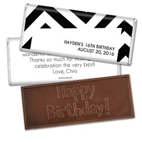 Birthday Personalized Embossed Chocolate Bar Chevron