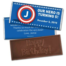 Birthday Personalized Embossed Chocolate Bar Captain America Monogram