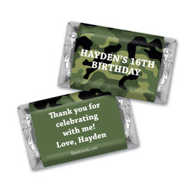 Birthday Personalized Hershey's Miniatures Wrappers Military Army Green Camo