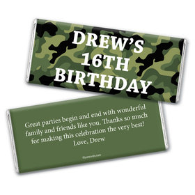 Birthday Personalized Chocolate Bar Wrappers Military Army Green Camo