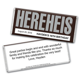 "Birthday Personalized Chocolate Bar HEREHEIS ""Here He Is"""